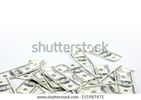 Laying Money - Laying One Hundred Dollar Bills Isolated on White. Money Photo Collection. - stock photo