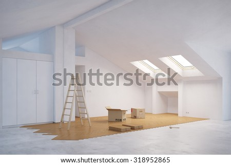 Laying out new hardwood floor in attic room (3D Rendering) - stock photo
