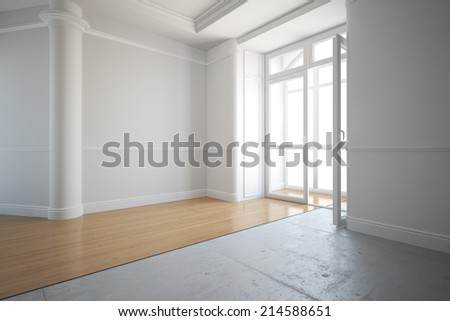 Laying out new parquet flooring in an old house - stock photo