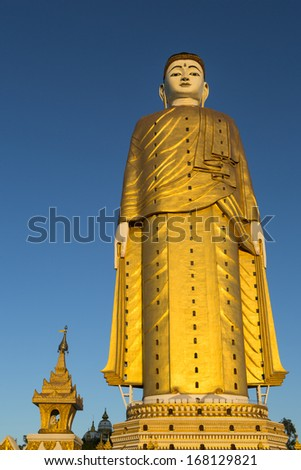 Laykyun Setkyar is the second tallest statue in the world, located in the village of Khatakan Taung, near Monywa, Myanmar, Southeast Asia - stock photo