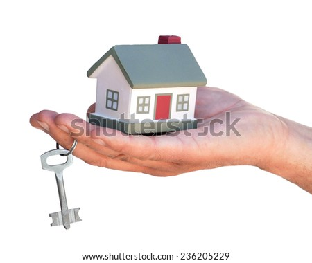 Layout cottages holds hand on his finger Exclude - stock photo