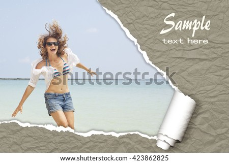 layout for advertising of tourist business. Happy girl in a bikini on a tropical beach. With the effect of torn paper and space for text