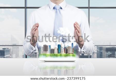 layout modern city on workplace, close up - stock photo