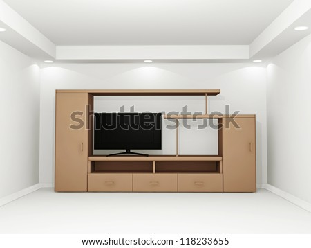 Layout of furniture and a TV in the room