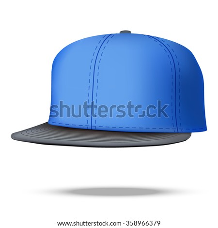 Layout of Male color rap cap. A template simple example. Editable  Illustration isolated on white background.