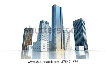 Layout of the business district of the city with skyscrapers and apartment buildings. 3d render. - stock photo
