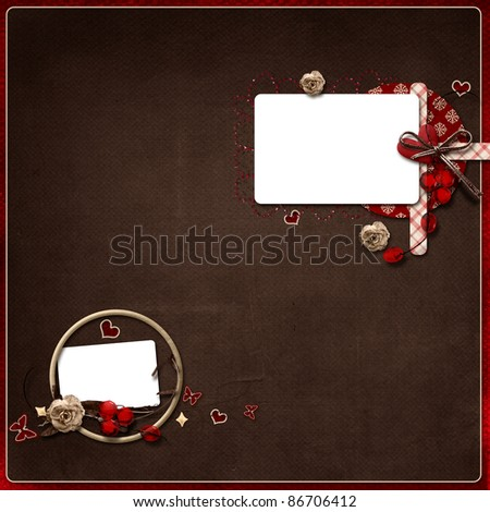 Layout with beautiful composition on the brown background - stock photo