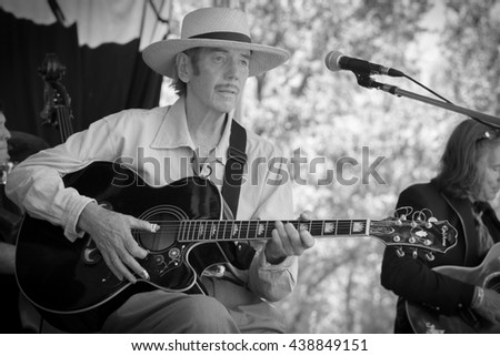 Laytonville, CA/USA - 6/28/2015 : Dan Hicks and the Hot Licks performs at the Kate Wolf Music Festival in Laytonville, CA.
