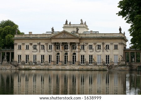 Lazienki palace - Summer residence of King Jan III Sobieski in Warsaw, Poland - stock photo