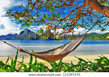 lazy tropical holidays - stock photo