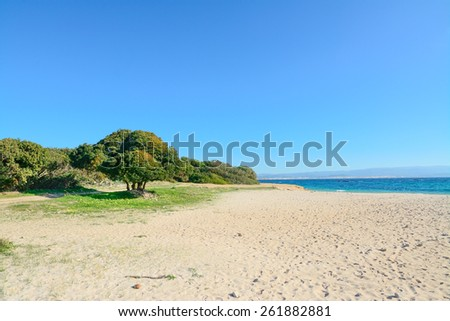lazzaretto beach on a clear spring day. Shot in Sardinia, Italy - stock photo