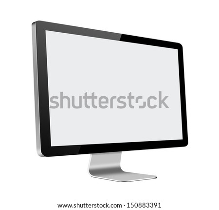 LCD Computer Monitor with blank screen on white background - stock photo
