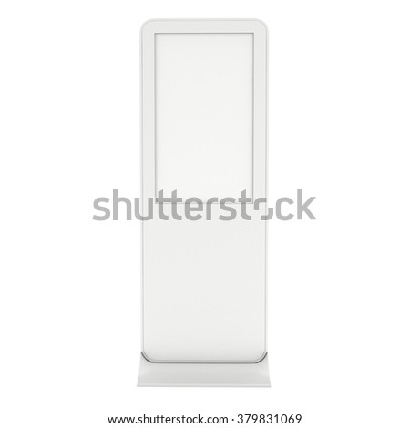 LCD Display Expo Stand. White and Blank Trade Show Expo Booth. 3d render isolated on white background. High Resolution. Ad template for your expo design. - stock photo
