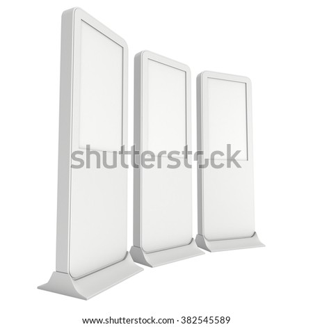 LCD Display Expo Stands with different angles. White and Blank LCD Trade Show Booth. 3d render isolated on white background. High Resolution LCD. Ad template for your expo design. - stock photo