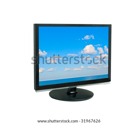 LCD display showing cloudy sky