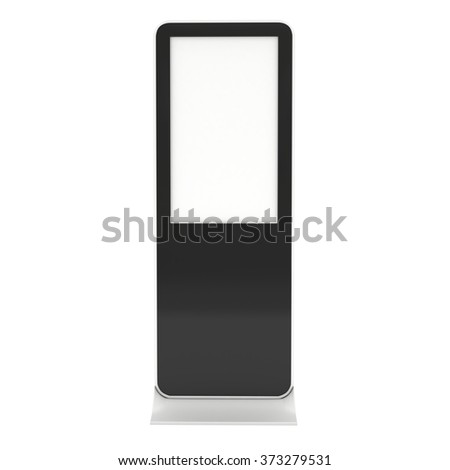 LCD Display Stand. Blank Trade Show Booth. 3d render isolated on white background. High Resolution. Ad template for your expo design. - stock photo