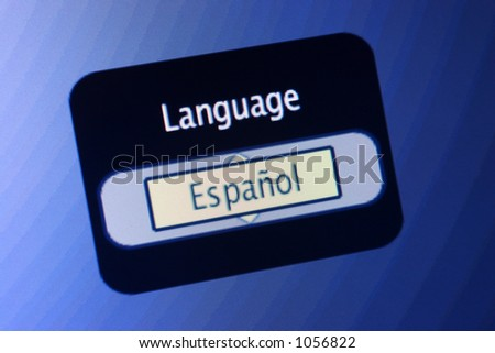 LCD display with the world Language and a selection of Spanish. - stock photo
