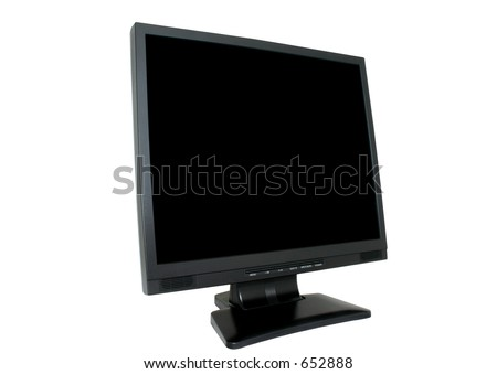 LCD isolated #2 - deep black screen, pure white background - stock photo