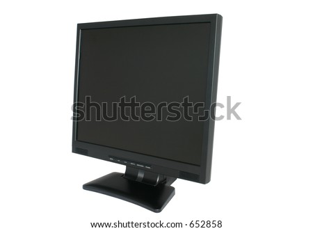 LCD isolated #1 - natural matt surface, pure white background - stock photo
