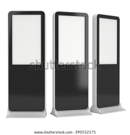 LCD Kiosk Stands with different angles. Black LCD Kiosk Trade Show Booth. 3d render isolated on white background. High Resolution Kiosk. Ad template for your expo design. Kiosk 3d Design - stock photo