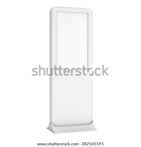 LCD Kiosk Stands with different angles. White and Blank LCD Kiosk Trade Show Booth. 3d render isolated on white background. High Resolution Kiosk. Ad template for your expo design. Kiosk 3d Design - stock photo