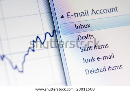 LCD macro photo, business related email concept shot - stock photo