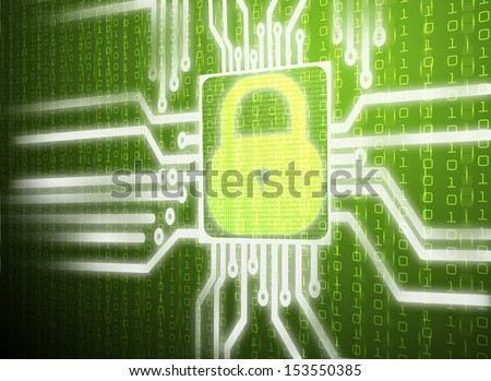LCD matrix green screen of security network system - stock photo