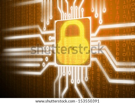 LCD matrix orange screen of security network system - stock photo