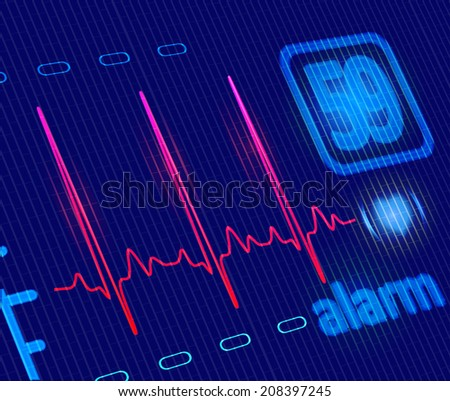 LCD Medical Heart Monitor with ECG wave. Close-up detailed illustration - stock photo