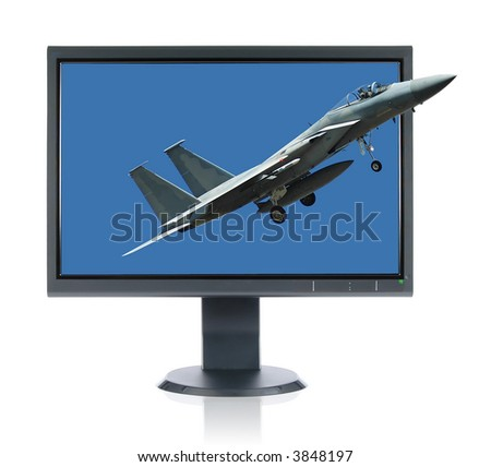 LCD monitor and F 15 Eagle and Monitor isolated over a white background