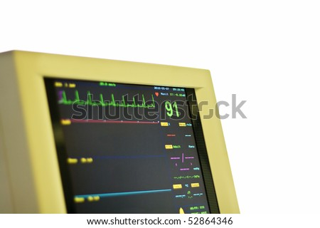 LCD Monitor for ECG control under anesthesia - stock photo