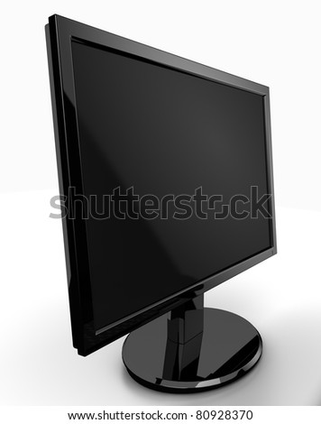 LCD monitor isolated - stock photo