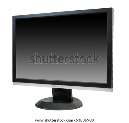 LCD monitor. Isolated on white background with clipping path - stock photo