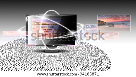 LCD monitor isolated with picture on screen - stock photo