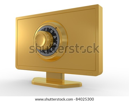 LCD monitor, lock and key on white background. 3D image - stock photo