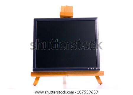 Lcd monitor on easel