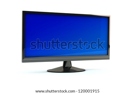 lcd  monitor tv on white background - stock photo