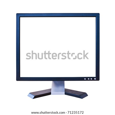 LCD Monitor with blank screen isolated - stock photo