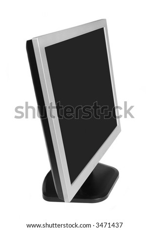LCD monitor with blank screen on white background - stock photo