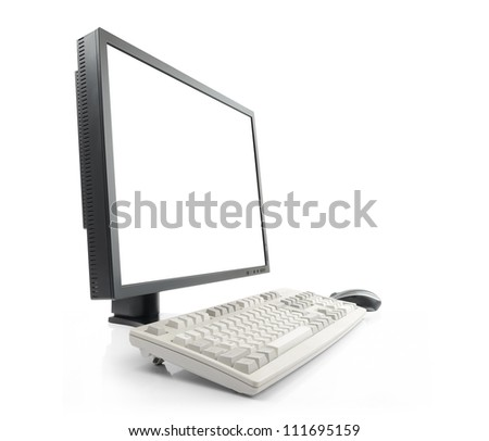 LCD monitor with blank white screen and keyboard, on white background, isolated path included - stock photo