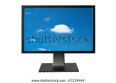 LCD monitor with blue sky screen isolated on white - stock photo