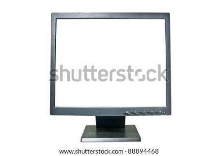 Lcd monitor with clipping path - stock photo