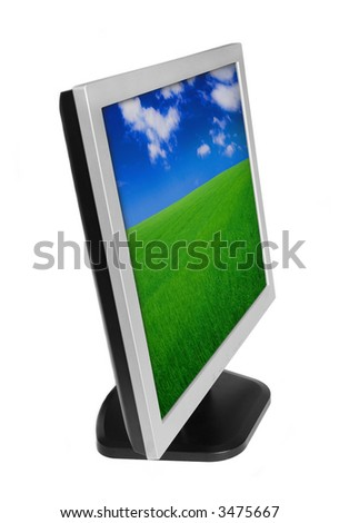 LCD monitor with color wallpaper on the screen - stock photo