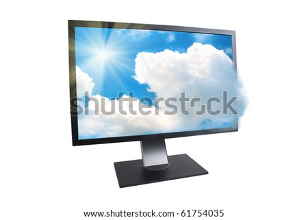 LCD monitor with sun and clouds outside isolated on white - stock photo