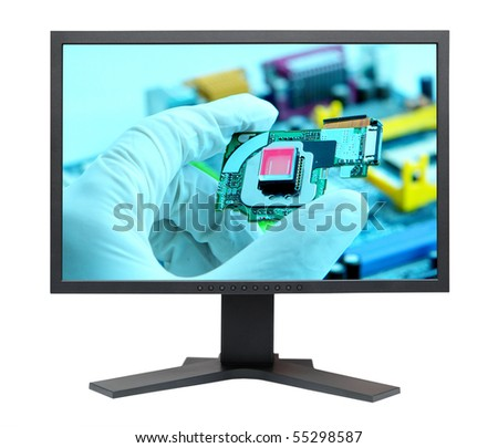 LCD S-PVA HD display panel type side view isolated on white background - stock photo