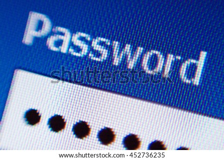 LCD screen closeup of word Password - stock photo