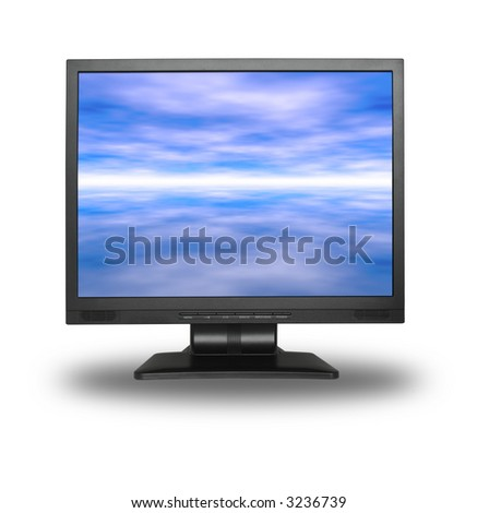 LCD screen with abstract sky background isolated on white - stock photo