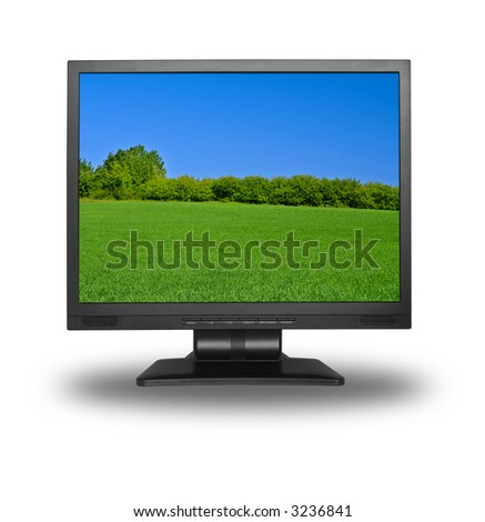 LCD screen with beautiful summer meadow landscape - stock photo