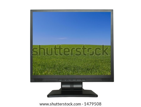 LCD screen with beautiful wallpaper, photo inside screen was also taken by me - stock photo