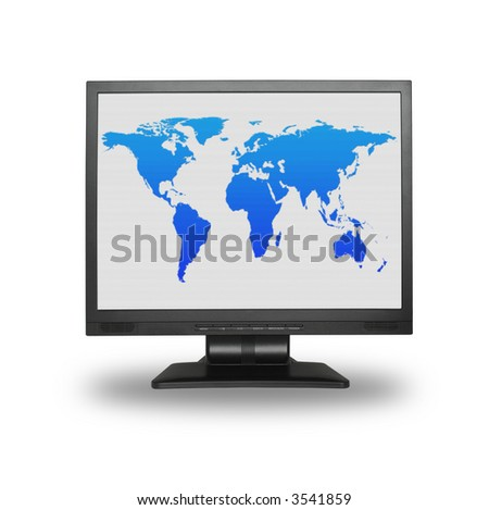 lcd screen with colorful world map, - the image on the screen has a clearly visible net simulating display pixels - stock photo